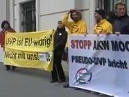 Proteste gegen AKW Mochovce vor dem Bundeskanzleramt in Wien