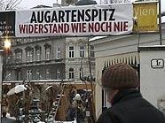 Besetzter Augartenspitz in Wien