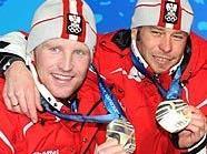 Die Silbermedaillengewinner im Biathlon-Staffelbewerb der Herren (v.l.) Simon Eder, Daniel Mesotitsch, Dominik Landertinger und Christoph Sumann
