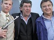 """Am """"Kottan""""-Set: Johannes Krisch, Robert Stadlober, Regisseur Peter Patzak und Lukas Resetarits"""