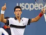 Novak Djokovic nach dem Matchball gegen Federer