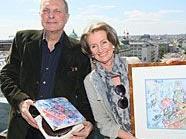 Christian Ludwig Attersee und Sacher-Geschäftsführerin Elisabeth Gürtler mit Sacher-Torte.