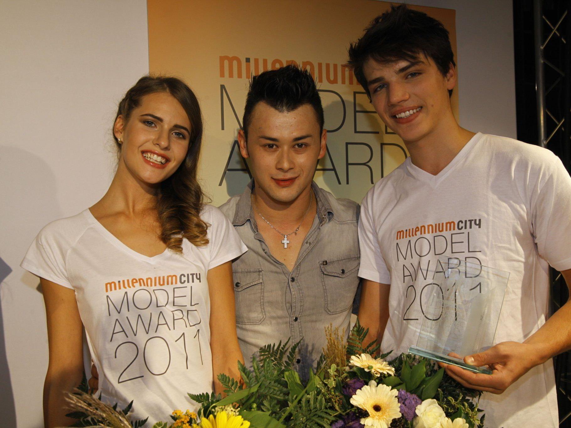 Polina, Lukas Plöchl, Martin beim Millenium City Models Award.