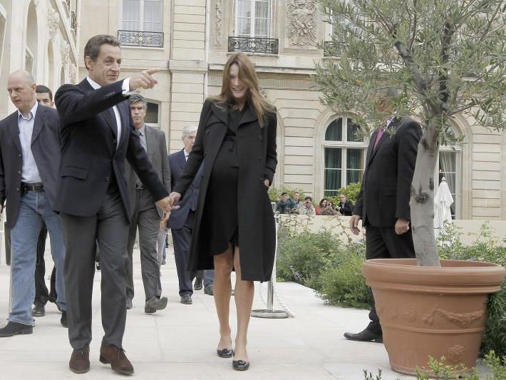 Carla Bruni-Sarkozy im September mit großem Babybauch