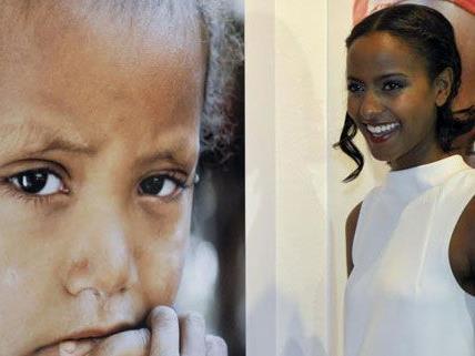 Model Sara Nuru sammelt Spenden in Wien.