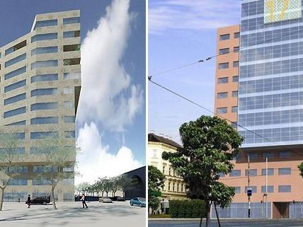 Links: So soll der Turm aussehen, rechts: Fotomontage der Erstversion des Hernalser Hofes