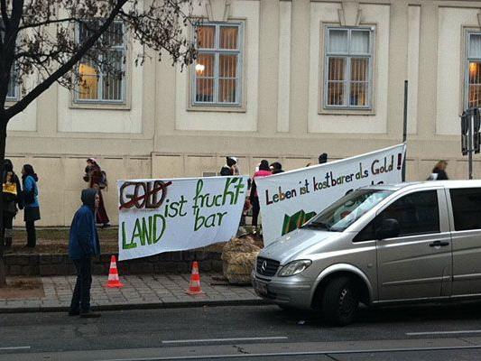 Die Demonstranten vor der rumänische Botschaft in Wieden.