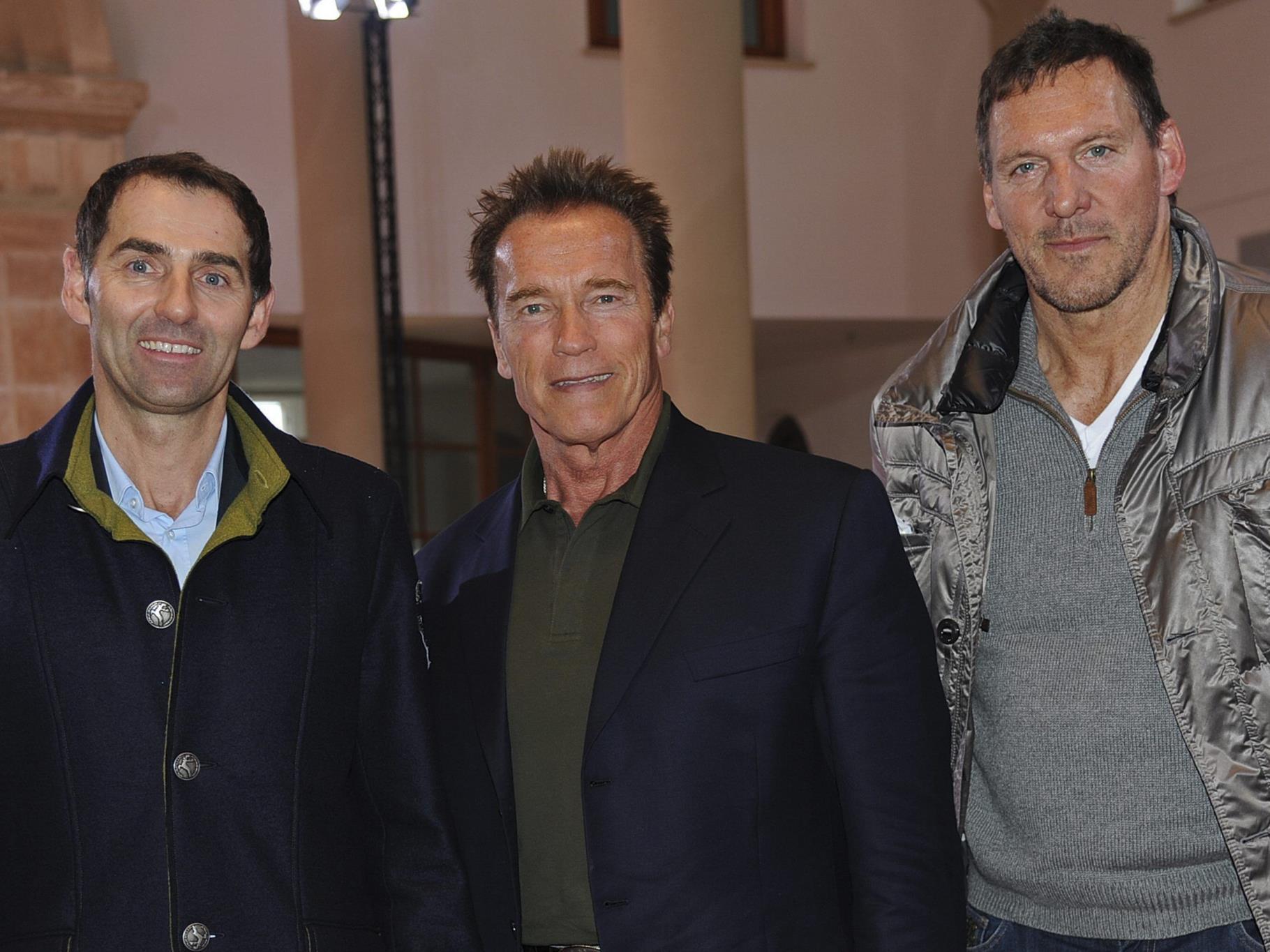 Arnold Schwarzenegger und Ralf Möller (re) bei einem Empfang von Veuve Clicquot am Freitag.