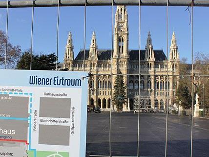 Der Wiener Eistraum entsteht derzeit am Rathausplatz