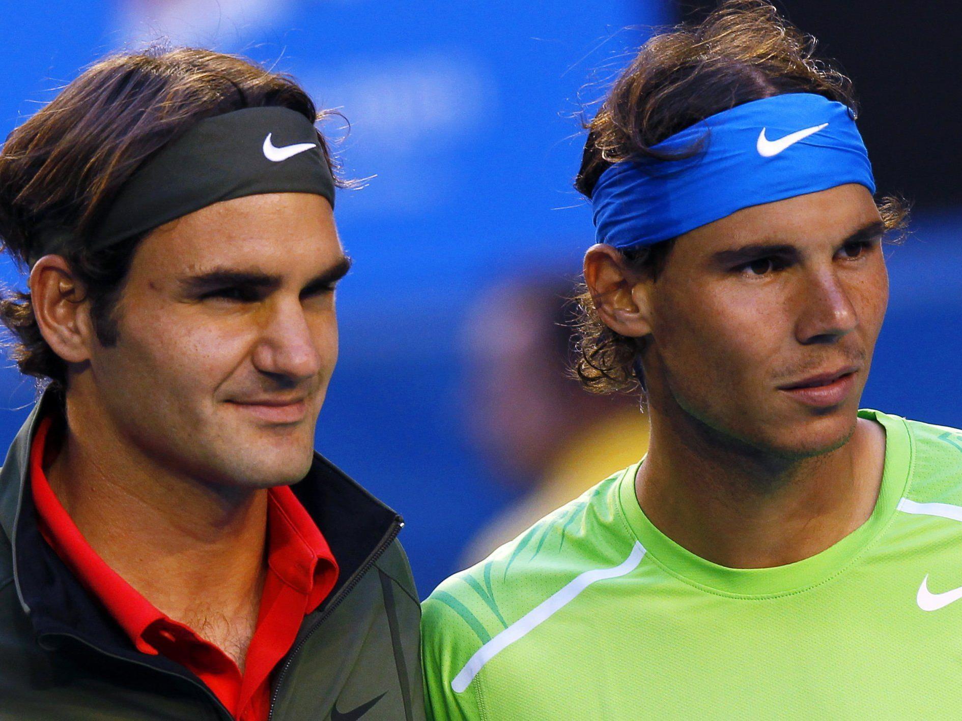 Federer und Nadal vor dem Halbfinale der Australien Open in Melbourne 2012.