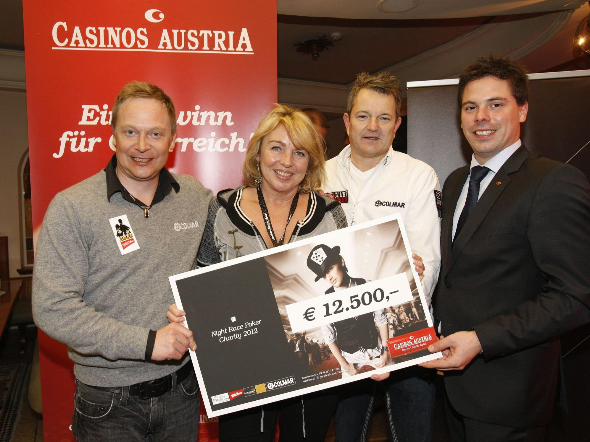 win2day Poker-Ace Johan Brolenius, Gabriela Gebhart von Stiftung Kindertraum, Pokerprofi Erich Kollmann und Casinos Austria Pokermanager Stefan Gollubits