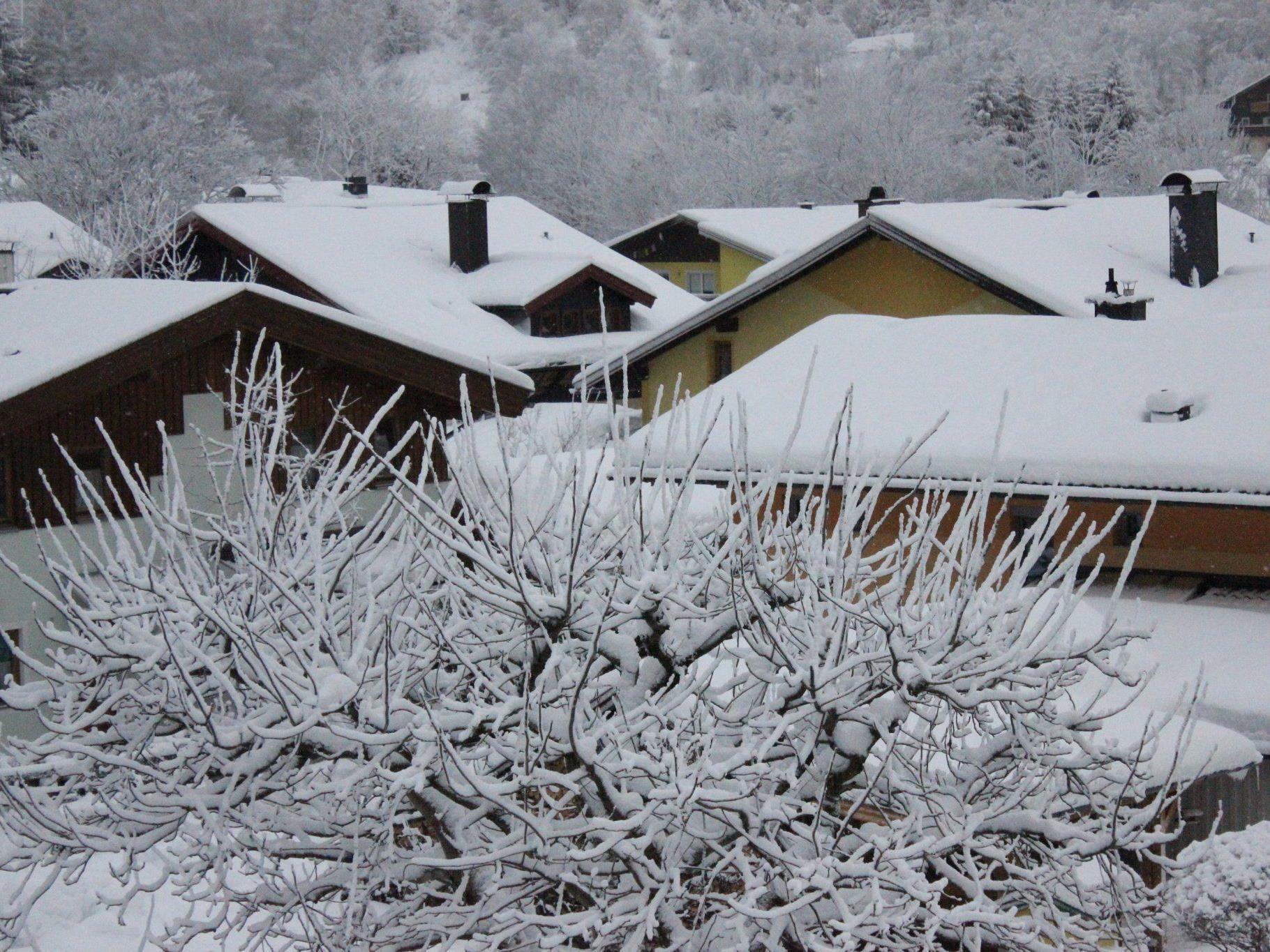Mittlerweile macht auch die Schneelast auf den Hausdächern Probleme.
