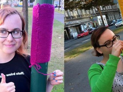 Urban Knitting-Fan Katja K. beim Yarn Bombing am Wiener Gürtel