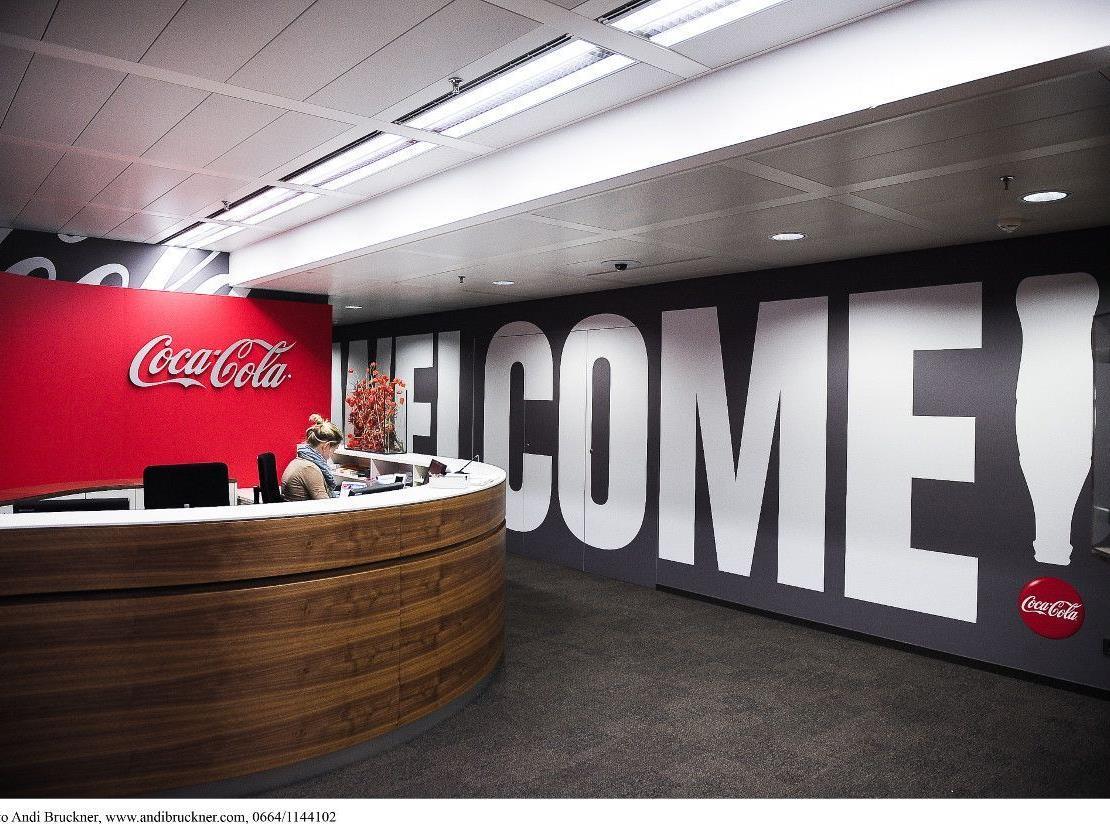 Der Empfangsbereich im neuen Wiener Coca-Cola Büro.