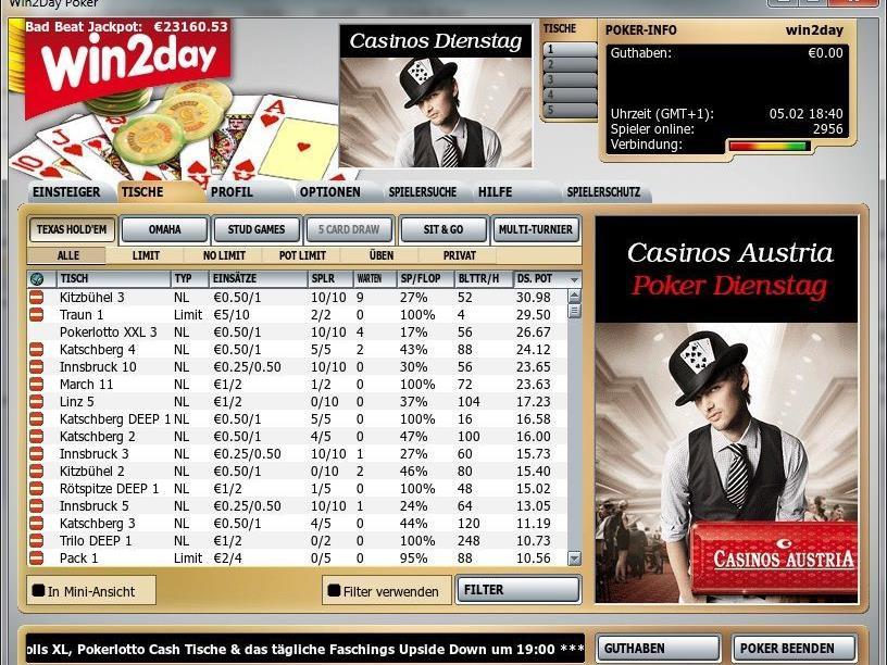 """Screenshot """"Der Casinos Austria Poker Dienstag auf win2day"""""""