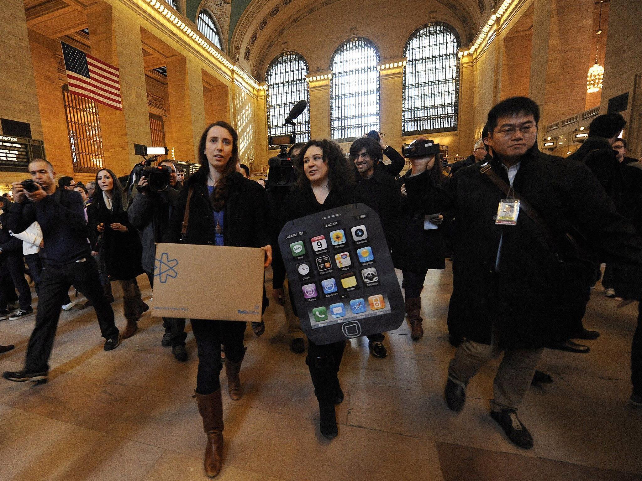 Proteste in New York gegen Arbeitsbedingungen in China.