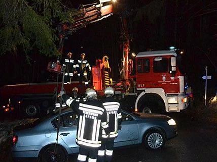 Das Auto musste von der Feuerwehr in Neunkirchen mittels Kran geborgen werden
