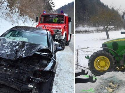 Unfall in Stixenstein mit zwei Verletzten / Traktor stieß gegen Pkw