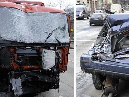 Ein Lkw löste den schweren Unfall am Währinger Gürtel aus