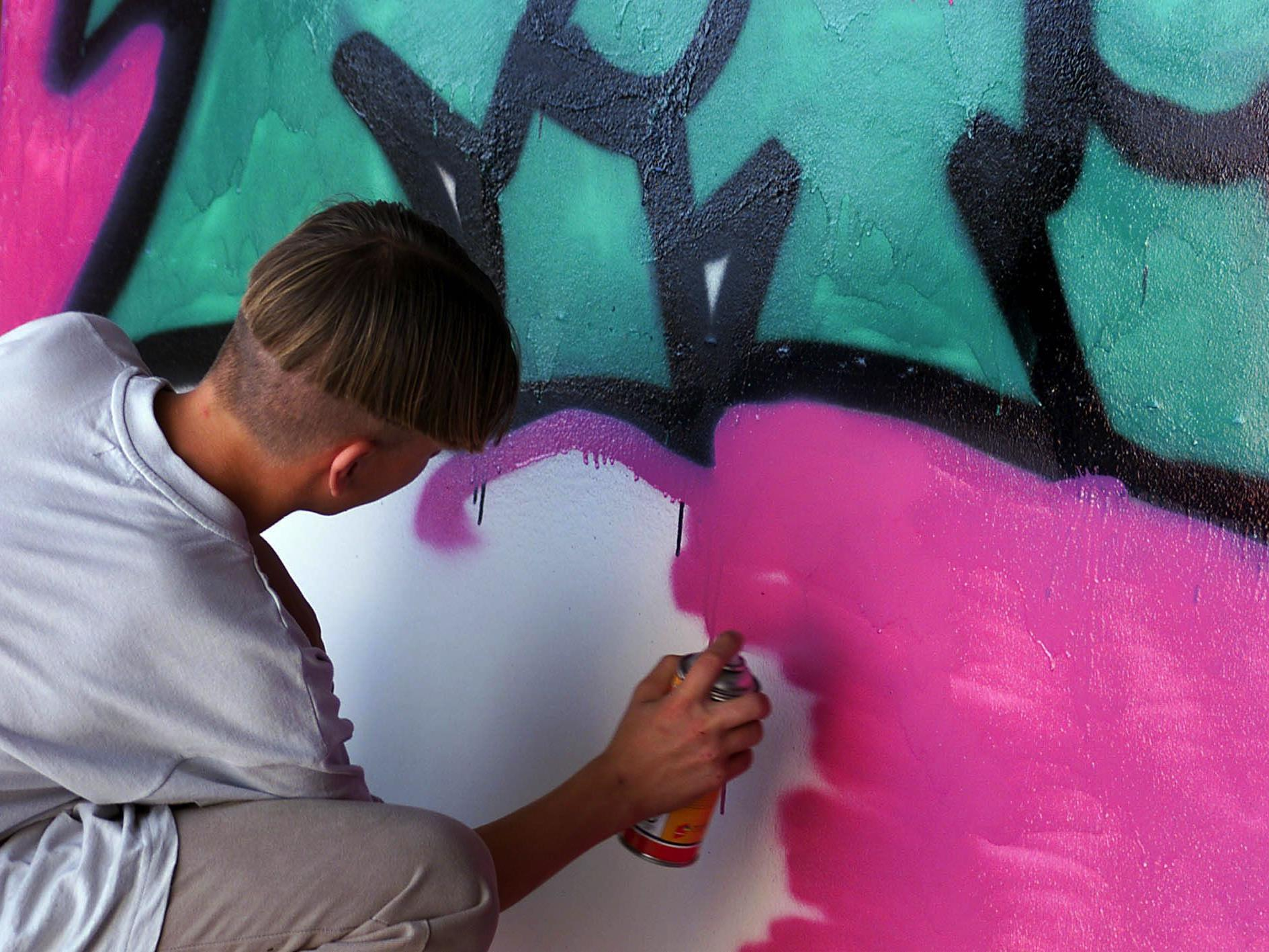 Die Sprayer verzierten zwei ganze Waggons mit Graffiti