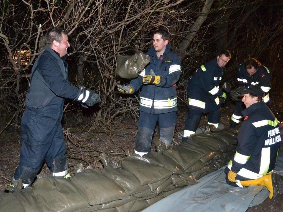54 Mann waren im Einsatz, um das Hochwasser einzudämmen