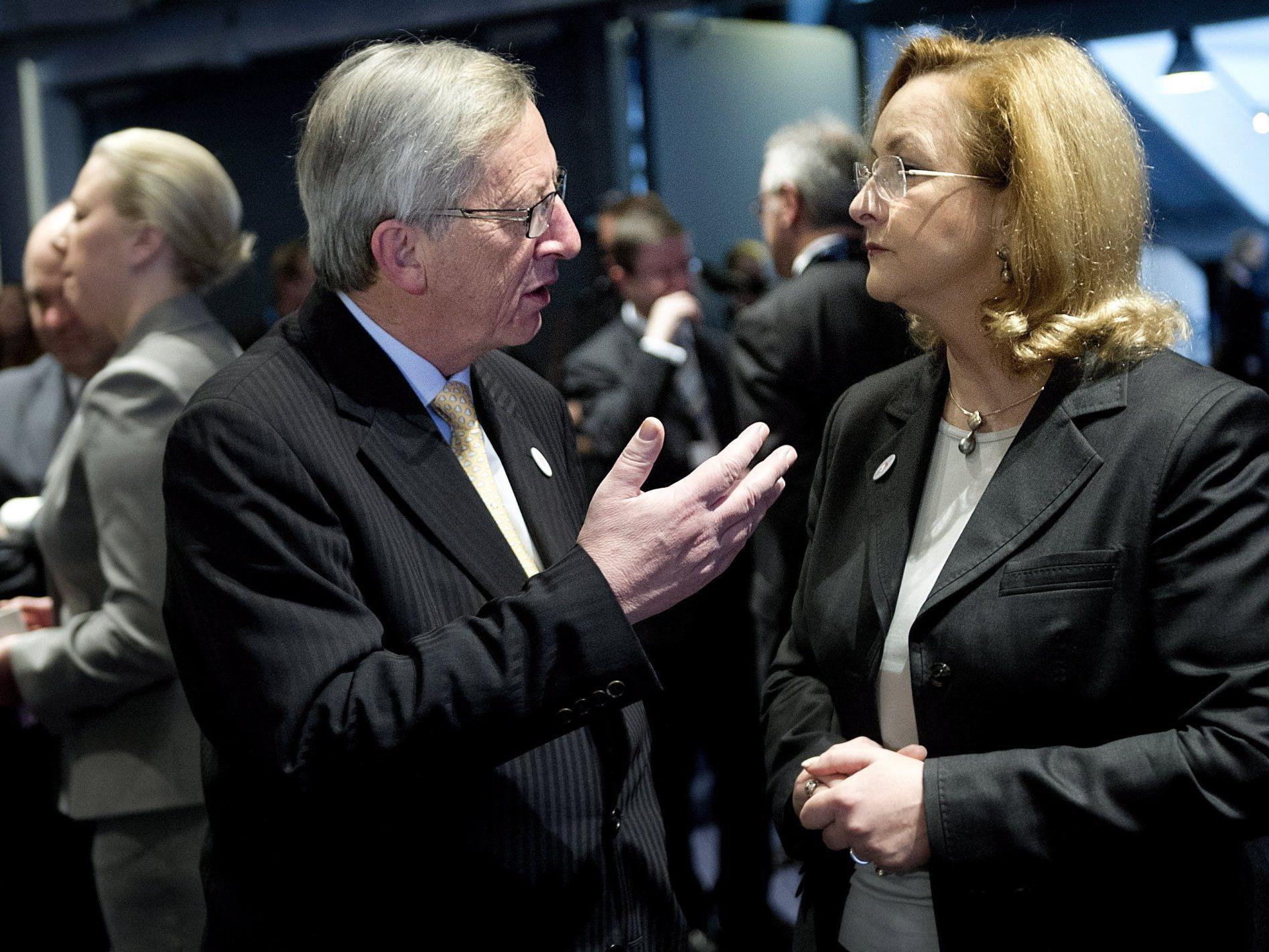 Maria Fekter mit Jean-Claude Juncker am Freitag in Kopenhagen.