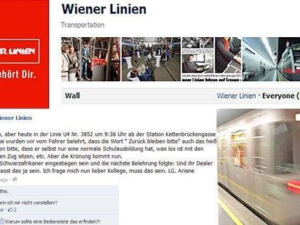 Die mysteriöse Ariane S. patzt einen U4-Fahrer auf Facebook mit bösen Behauptungen an