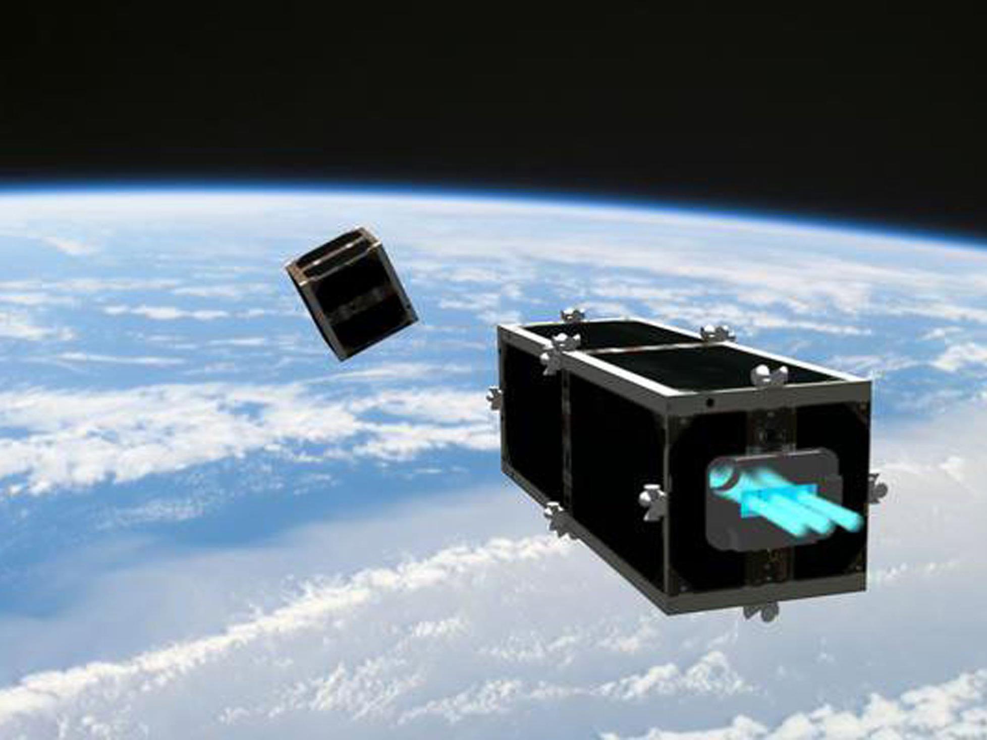 Der Weltraumreinigungssatellit CleanSpace One dürfte auch mit dem Ionen-Mikromotor ausgerüstet werden.