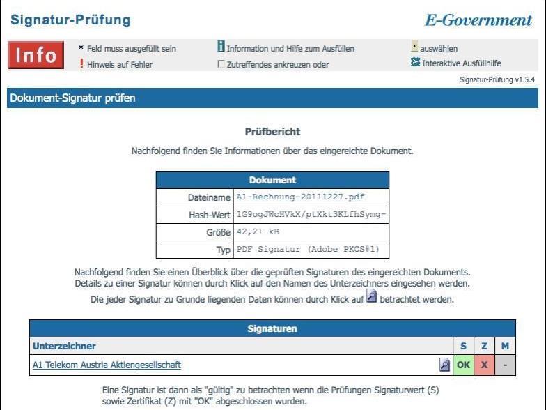 Signatur-Prüfung einer A1-Rechnung mit Fehlermeldung beim Zertifikat