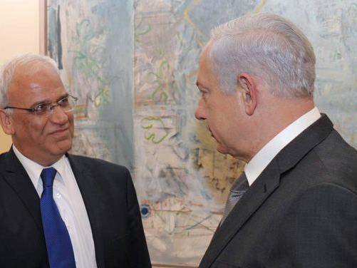 Saeb Erekat mit Israels Ministerpräsident Netanyahu