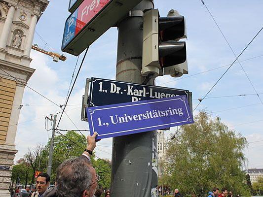 Die Grünen luden schon am Freitag zur symbolischen Umbenennung vom Dr. Karl-Lueger-Ring