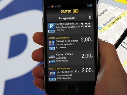 Die neue ÖAMTC-App hilft auch bei der Suche nach freien Plätzen in Parkgaragen.