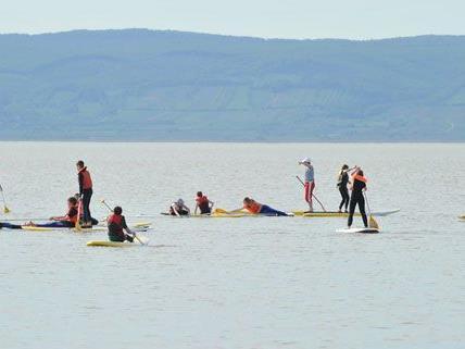 Die ersten Surfer bereiteten sich bereits am Donnerstag auf den Surfworldcup Podersdorf 2012 vor.