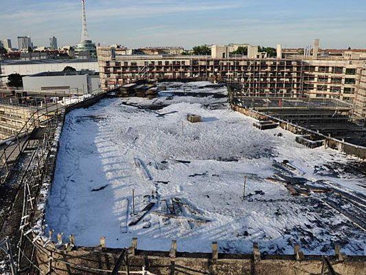 So sieht es auf der WU-Baustelle nach dem Großbrand aus