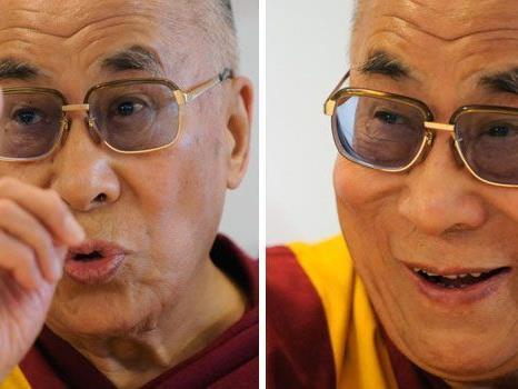 Der Dalai Lama bei der Pressekonferenz in Wien.