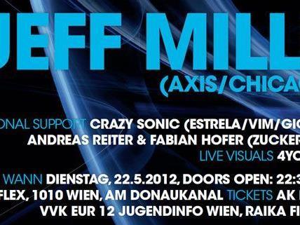 Elektronische Beats deluxe: Jeff Mills legt im Wiener Flex auf.