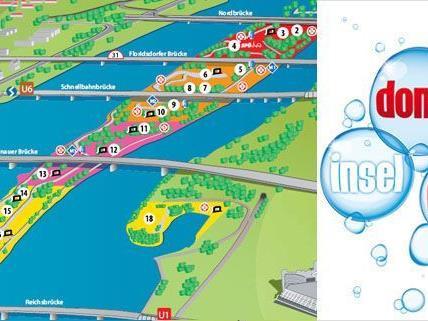 Der Plan vom Wiener Donauinselfest mit allen Inseln und Bühnen.