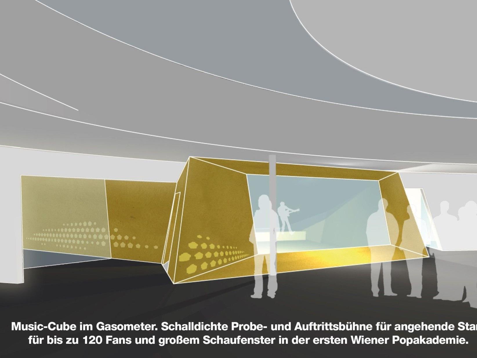 Im Herbst 2012 startet die Pop-Akademie im Wiener Gasometer. Den jungen Musikern wird auch ein Music-Cube für Konzerte zur Verfügung stehen