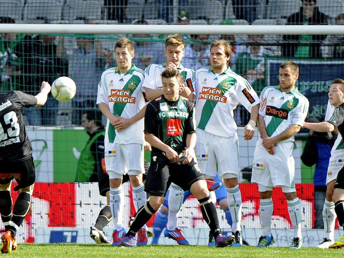 Rapid und Wacker Innsbruck treffen beim letzten Meisterschaftsspiel aufeinander. Wir berichten live.