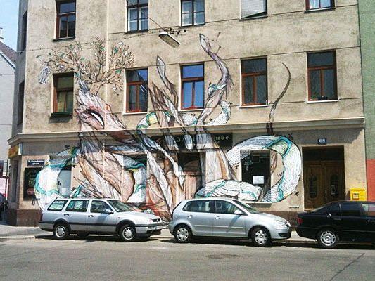 Diese Fassadenmalerei ist in Ottakring zu bewundern