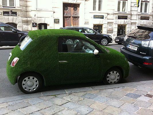 Dieses lustiges Gras-Auto entdeckte unser Leserreporter im 9. Bezirk