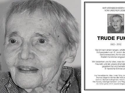 """Abschied von Trude Fukar, in Österreich bekannt und beliebt als """"Oma Putz"""""""