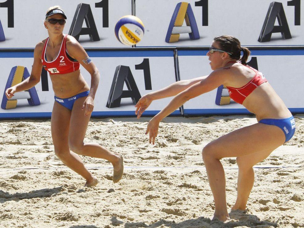 Action in Klagenfurt beim Beachvolleyball Grand Slam