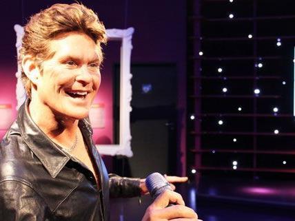 So sieht David Hasselhoffs Wachsfigur bei Madame Tussauds aus.