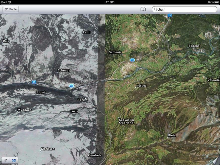 In Apples iOS 6 Maps wechselt die Ansicht plötzlich von Farbe auf Schwarz-weiß.
