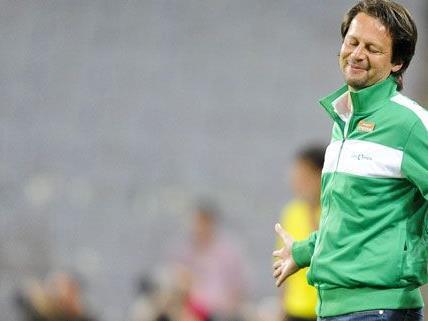 Nach dem Sieg gegen PAOK Saloniki sieht Rapid-trainer Peter Schöttel dem Spiel gegen den SV Mattersburg gelassen entgegen.