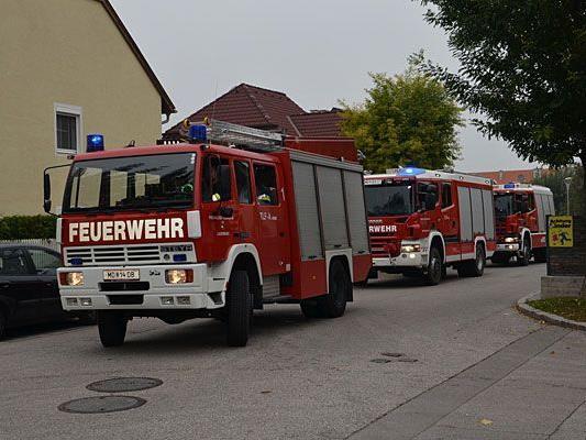 Die Feuerwehr beim Brandeinsatz in Biedermannsdorf