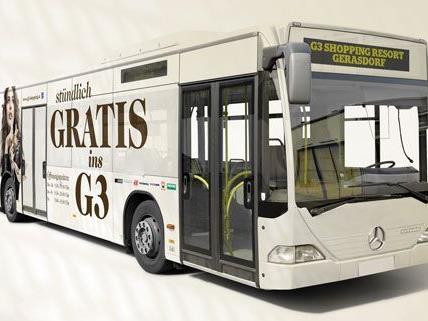 Von Wien fährt stündlich ein Shuttle-Bus zum G3 Shopping Resort Gerasdorf.