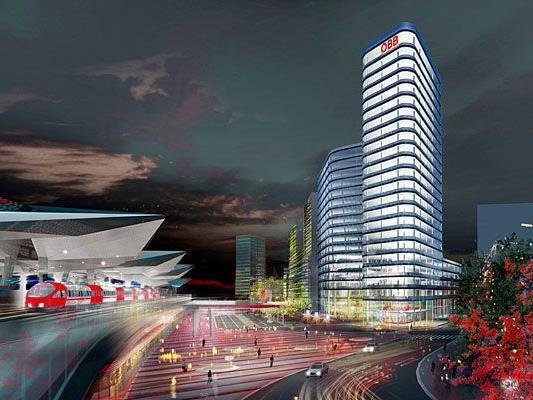 Rendering der neuen ÖBB-Konzernzentrale am Westbahnhof, die die Wiener Architekten Zechner & Zechner entworfen haben.