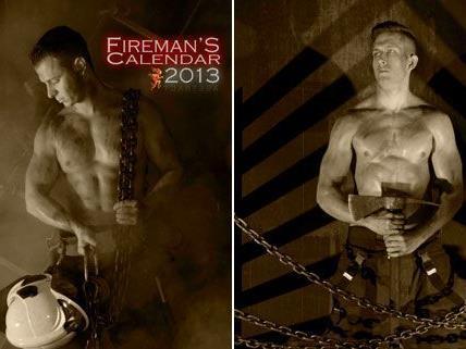Lukas K. und Christoph W. sind zwei der Wiener Feuerwehrmänner, die sich für den Kalender haben ablichten lassen.